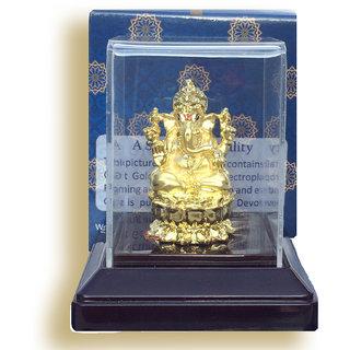 24 Kt. Gold Plated Idol Murti Statue Of Lord God Ganesh Ganesha Ganpati Dmig4