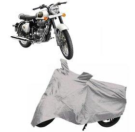 Utkarsh Silver Matty Two Wheeler Bike Body Cover For Roy@L En-Field Bullet Classic 350 With Mirror Pockets