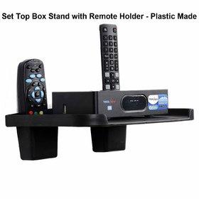 Zeeko PVC Black Set Top Box stand With 2 Remote Holder And 2 Screw free (10 cm x 9 cm x 10 cm )