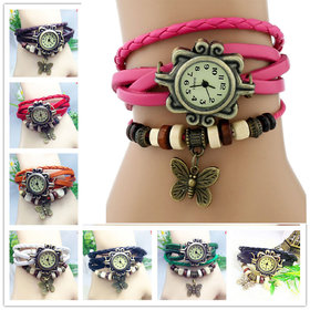 Vintage Bangle Bracelet Cum Quartz Leather Watch Gift