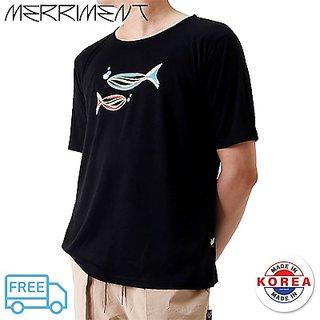 Merriment Grand Casting The Fish Unisex Short Sleeve T-Shirt (Black)