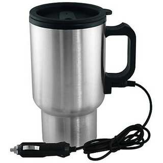 Ra Stainless Steel Electric Car Use Kettle Travel Mini Auto Water Heating Cups Tea Coffee Milk Boiling Cup