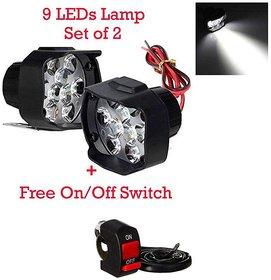 9 Led Bike Fog Light - Set Of 2 - 15 Watts Each (Switch Free)
