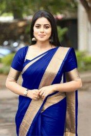 Art Silk Plain With Blouse Saree By SVB Saree
