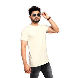 LESS Q Men's White Plain Cotton Lycra Round Neck T-Shirt