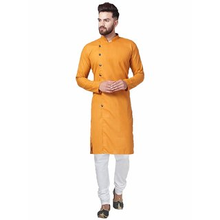 Rc Ethnic Yellow Cross Cotton Kurta Pyjama Set For Men