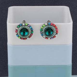 Silver Shine Fancy Party Wear Multi Colour Stud Diamond Earring For Women Girl