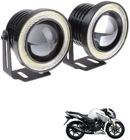 Auto Addict 3.5 High Power Led Projector Fog Light Cob With White Angel Eye Ring 15W,Set Of 2 For Tvs Apache Rtr 180