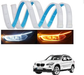 Auto Addict 60 Cm Flexible White Daytime Running Light For Cars Yellow Indicator With Turn Sequential Flow For Bmw X1