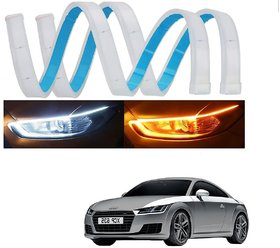 Auto Addict 60 Cm Flexible White Daytime Running Light For Cars Yellow Indicator With Turn Sequential Flow For Audi Tt
