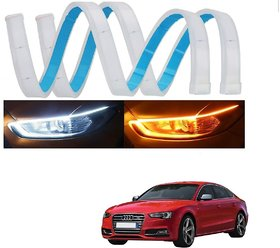 Auto Addict 60 Cm Flexible White Daytime Running Light For Cars Yellow Indicator With Turn Sequential Flow For Audi S5