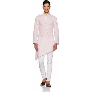 Rc Ethnic Light Pink Cross Cotton Kurta And Pyjama Set For Men