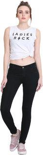 Women Black Silky Denim Jeans