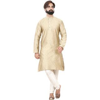 Rc Ethnic Silk Light Gold Texture Kurta With White Pyjama For Men