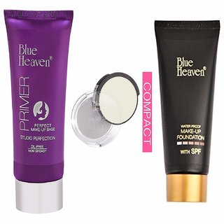 Blue Heaven Makeup Combo Of Primer, Uhd Compact And Oil Free Foundation