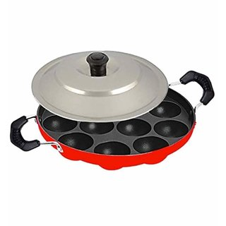 Homeeware 12 Cavities Non Stick Appam Patra With Lid,Pan/Maker/Pan Cake Maker,Red