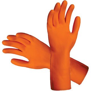 Eastern Club Rubber Hand Gloves Reusable Set Of 10 Pairs For Washing, Cleaning Kitchen Garden(Color May Vary)