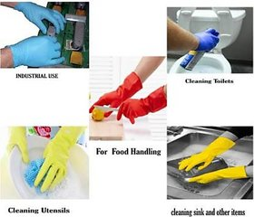 Eastern Club House Hold Cleaning Rubber Hand Gloves, Kitchen,Washing Toilet Cleaning,Garden (5 Pair)