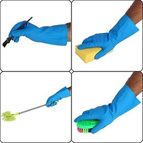 Eastern Club Rubber Hand Gloves Reusable Free Size For Washing, Cleaning Kitchen Garden Pair Of-10