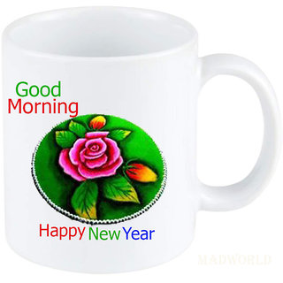 Madworld Good Morning & Happy New Year Quotes Printed Ceramic White Coffee Mug Best Gift For Couple Girlfriend Birthday