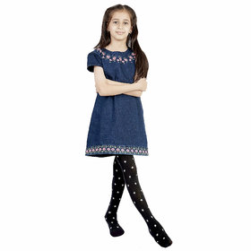 N2S Next2Skin - Girls Star Print Pantyhose High Denier Stocking - Black (Size- S- 3 To 6 Years, M- 7 To 10 Years)