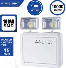Rock Light Wall Mounted With Portable Emergency Light With Twin Spot Light