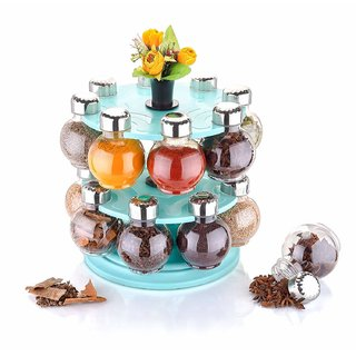 Shaunik 360 Degree Revolving Round Shape Transparent Pack Of 16 Jar Spice Rack Container Spice Container, Masala Box For