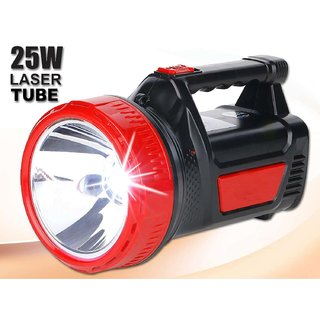 Rocklight Abs 25 W Ultra Bright Rechargeable Led Torch Light Laser Long Range High Power Torch + Emergency Lights Tube