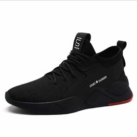 BUCIK Black Lace-up Sneakers for Men