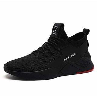 BUCIK Black Lace-up Sneakers for Men