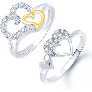 Sukai Jewels Double Heart Solitaire Combo Ring For Women And Girls