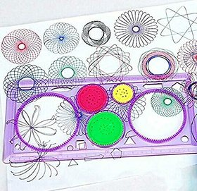 Asu Set Of 2 Creative Novelty Gift Spirograph Geometric Ruler Drafting Tools Learning Art Sets For Children