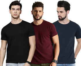 Dcrooz Mens Half Sleeve Solid 3 Combo Cotton T-Shirts