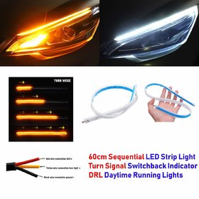Autobizarre Set Of 1 White Amber Stick-On Above Headlamp Flow Led Sequential Audi Style Daytime Running Flexible Lights