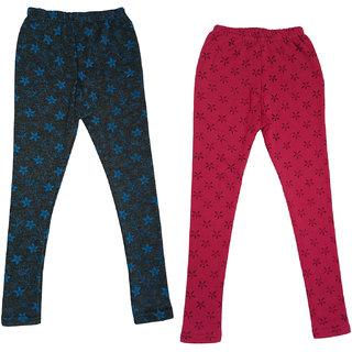 IndiWeaves Girls Printed Warm Wollen Winters Leggings (Pack of 2)