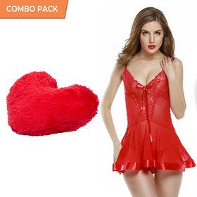 Billebon Comfortable Honeymoon Dress Combo-Sexy Billebon Lingerie And Honeymoon Dresses For Women With Heart Pillow