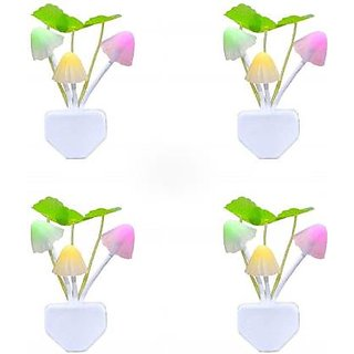 Trendy Trotters Combo pack of 4 Imported Mushroom Shape Automatic Sensor Light ( Night Lamp )