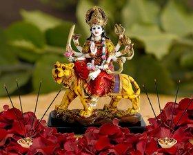 Kartik Indian Hand Carved Hindu Goddess Durga Ma Resin Idol Statue Sculpture Multicolor/Home Decor Showpiece