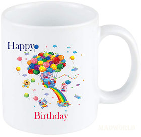 MadWorld Hqappy Birthday Quotes Balloon Image Printed Ceramic White Coffee Mug Best Gift For Friends