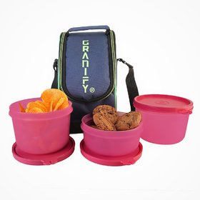 GRANIFY Lunch Box ( 3 Containers With Bag Cover ) E
