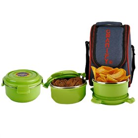 GRANIFY Lunch Box ( 3 Steel Containers With Bag Cover ) G