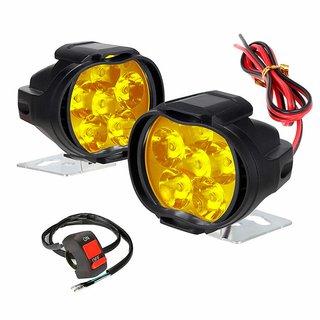 RA Accessories 6 LED Waterproof Yellow Fog Lamp/Light for Bikes with on/off Switch for Motorcycle Jeep SUV Car and Truck