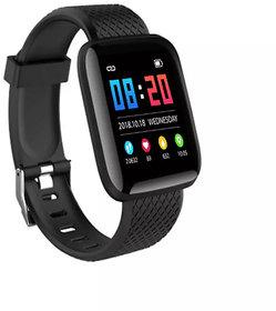 GUG Maxim iD116 Plus HR Black Smart Bracelet Screen Pedometer Heart Rate Monitor with Warranty