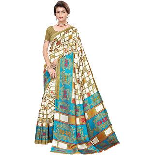 Eka Lifestyle Women's Turquoise Art Silk Printed Saree