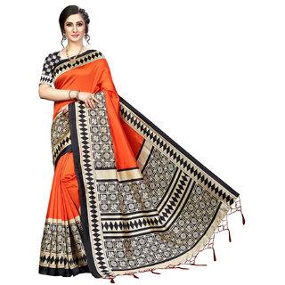 Eka Lifestyle Women's Orange Art Silk Printed Saree