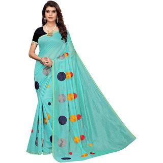 Eka Lifestyle Women's Sky Blue Chanderi Embroidered Saree