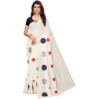 Eka Lifestyle Women's White Chanderi Embroidered Saree