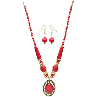 JSD Foreign Look Red Crystal Necaklace