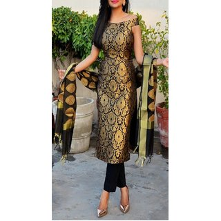 Black Slik Embroidered Stitched Kurti by Shilpa Walecha