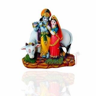 Kartik Antique Finish Lord Radha Krishna Cow Love Couple Statue Sculpture Handicraft Idol for Temple Home Office